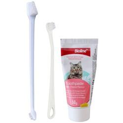 Bioline - Bioline Kedi Diş Macunu Ve Diş Fırçası Seti Peynir Aromalı 50 gr