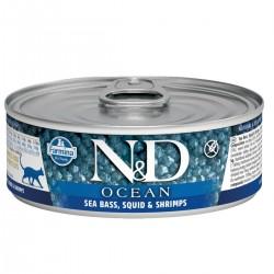 N&D - N&D Ocean Levrek Ve Mürekkep Balıklı Karidesli Yetişkin Kedi Konservesi
