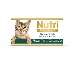 Nutri Feline - Nutri Feline Hindi Etli Ve Tavşanlı Tahılsız Yetişkin Kedi Konservesi