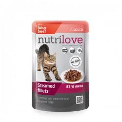 Nutrilove - Nutrilove Tahılsız Soslu Biftekli Kedi Konservesi Pouch