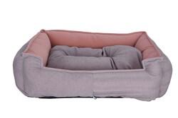 Petix Bed - Petix Bed Plus Mikro Fiber Kumaş Yatak Gri-Pembe